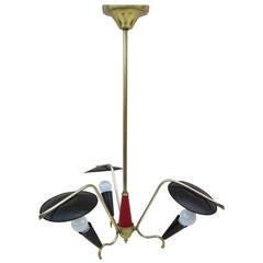 1950 Italian Three-Arm Pendant Lamp