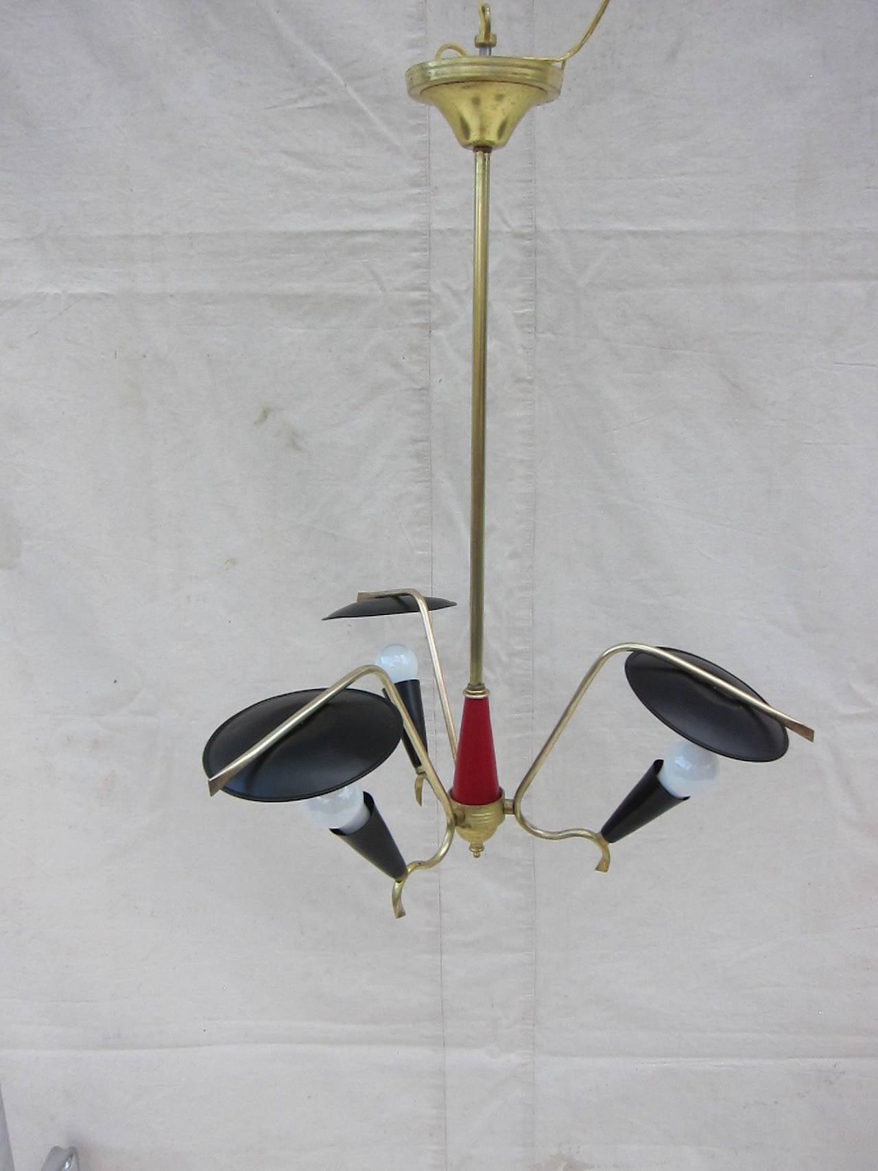 Mid-20th Century 1950 Italian Three-Arm Pendant Lamp For Sale