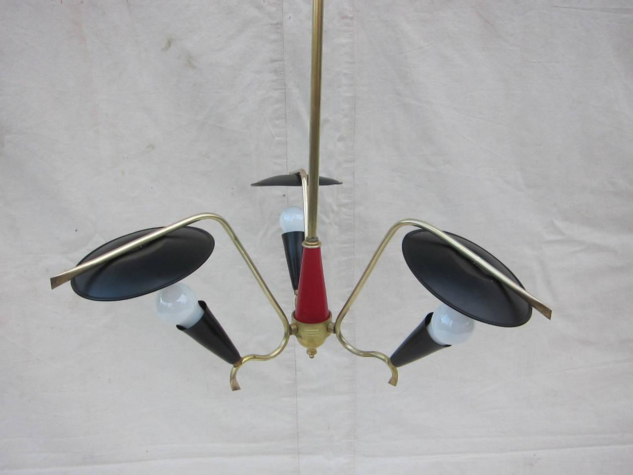 Aluminum 1950 Italian Three-Arm Pendant Lamp For Sale