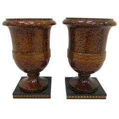 Art Deco Footed Urns in Burl Wood