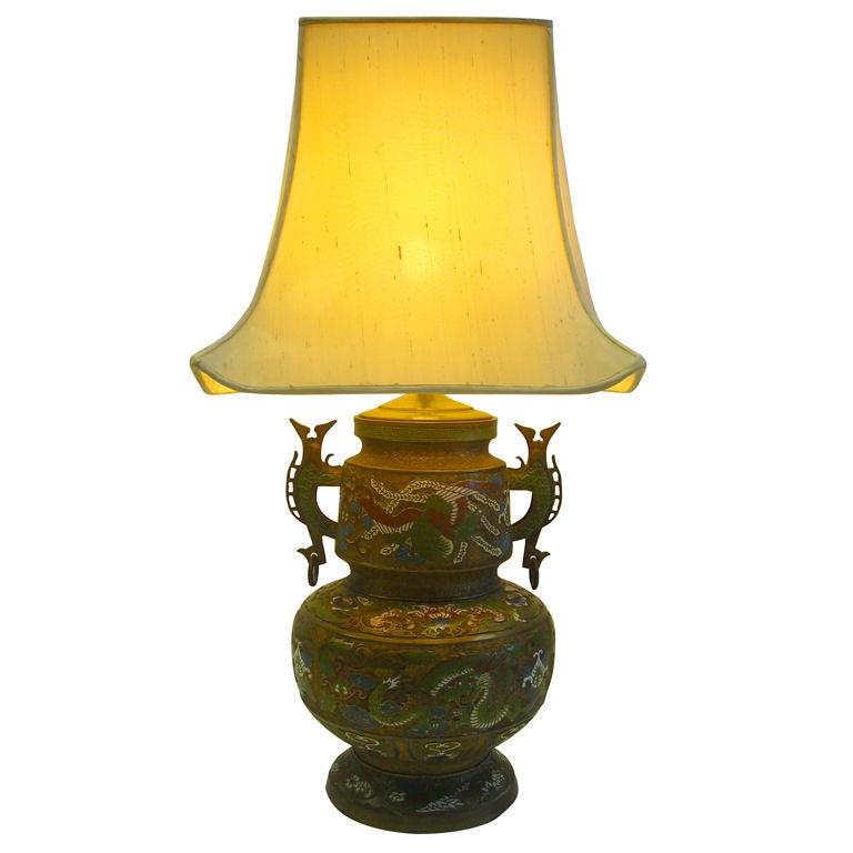 Bronze Cloisonne Oriental Lamp Radio City Music Hall Nyc
