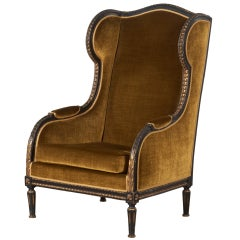 French 19th Century Louis XVI Style Bergere Wing Chair