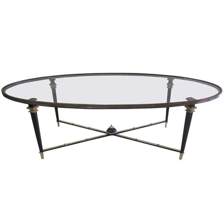 French mid century glass cocktail table at 1stdibs for French glass coffee table