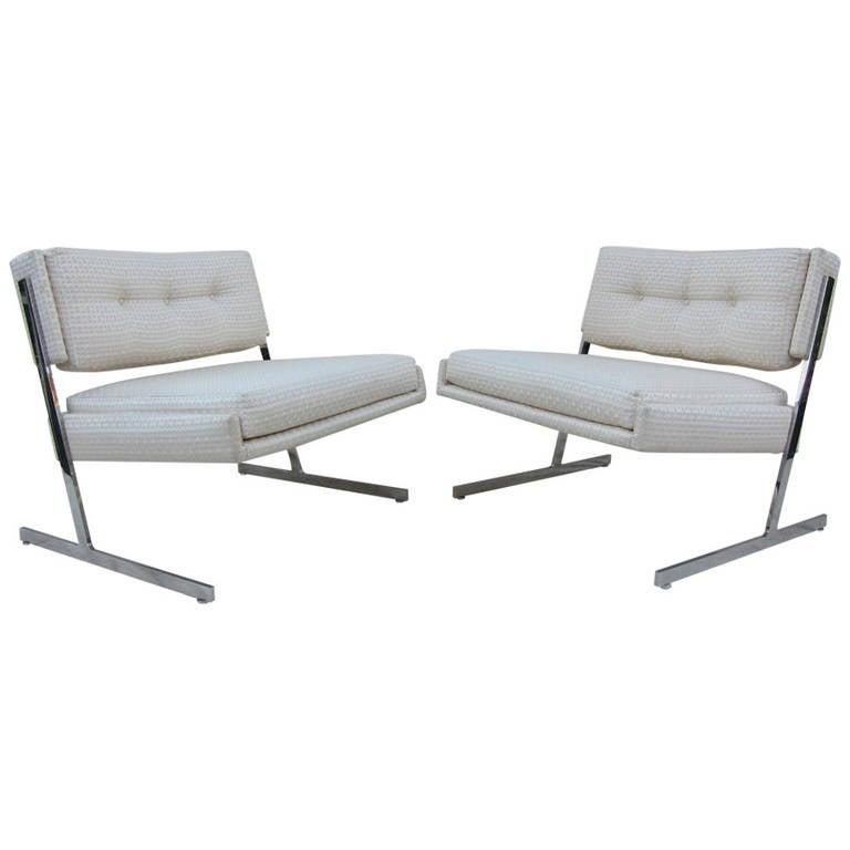 Harvey Probber Chrome Lounge Chairs