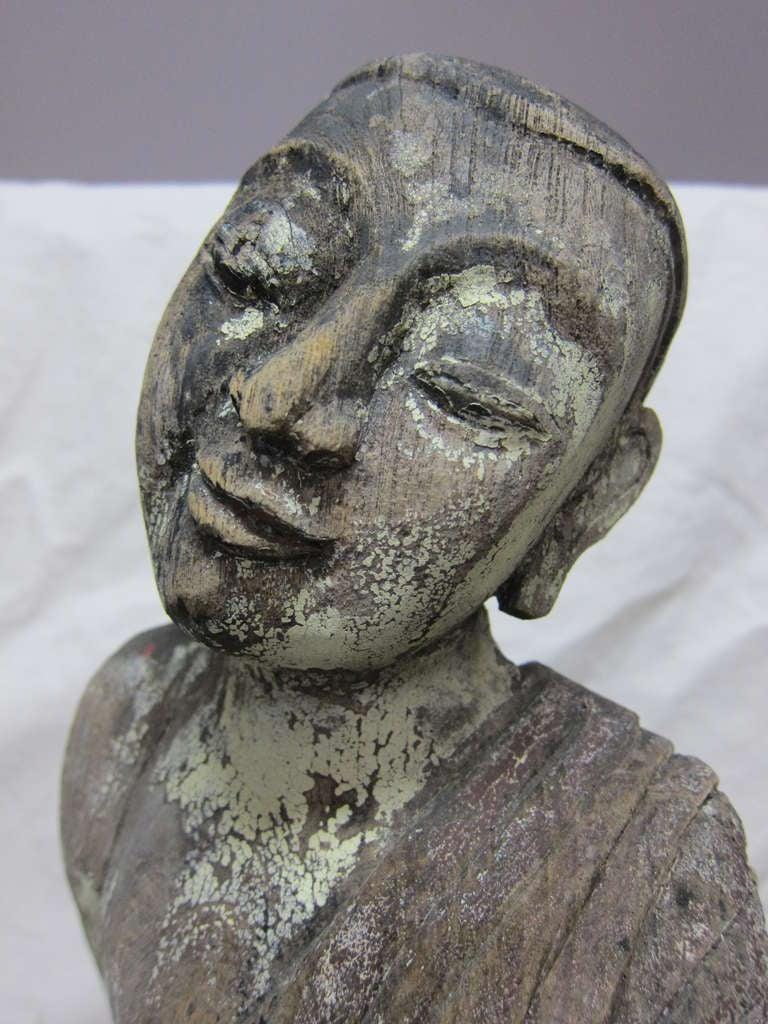 19th Century Carved Monk Sarriputta For Sale 1