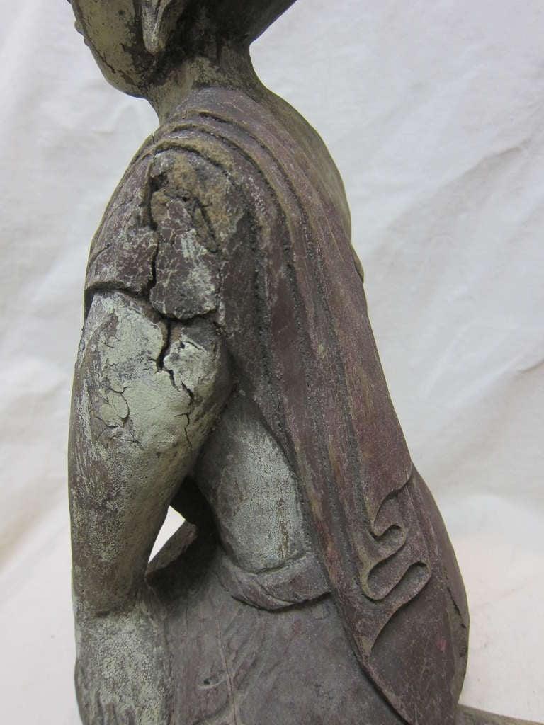 Hardwood 19th Century Carved Monk Sarriputta For Sale