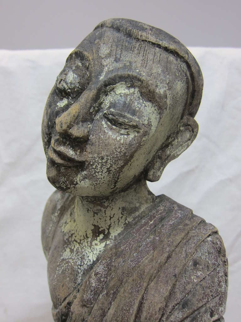 19th Century Carved Monk Sarriputta For Sale 3
