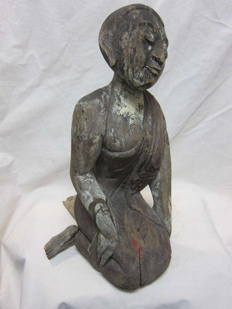 19th Century Carved Monk Sarriputta For Sale 4