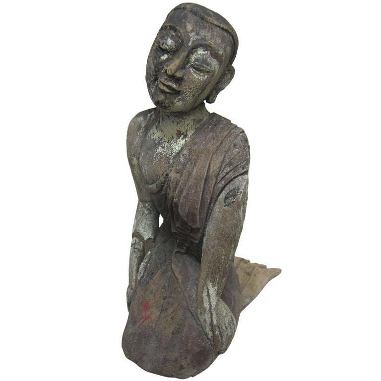 19th Century Carved Monk Sarriputta