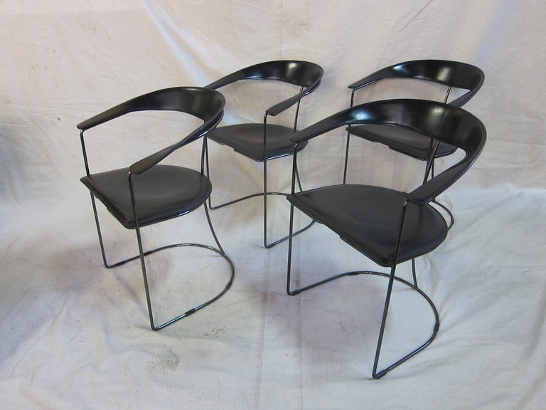 Set of Four Arrben Italian Leather and Black Chrome arm chairs.  CA 1960