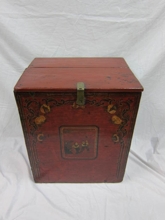 19th century Mongolian painted chest. Wonderful papered inside with old calligraphy paper. Nice as a hall chest, or as display table. Exceptional piece.  Cab be used for storage,  and display.  Very Special.