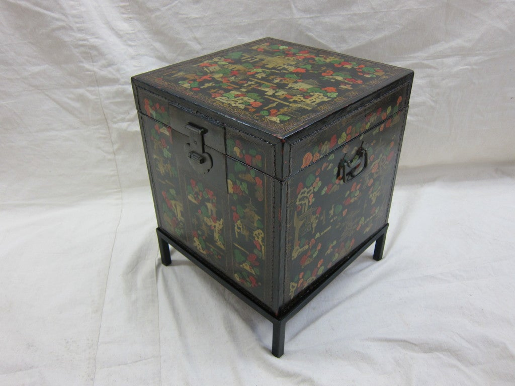 Antique painted trunk at 1stdibs - How to paint an old trunk ...