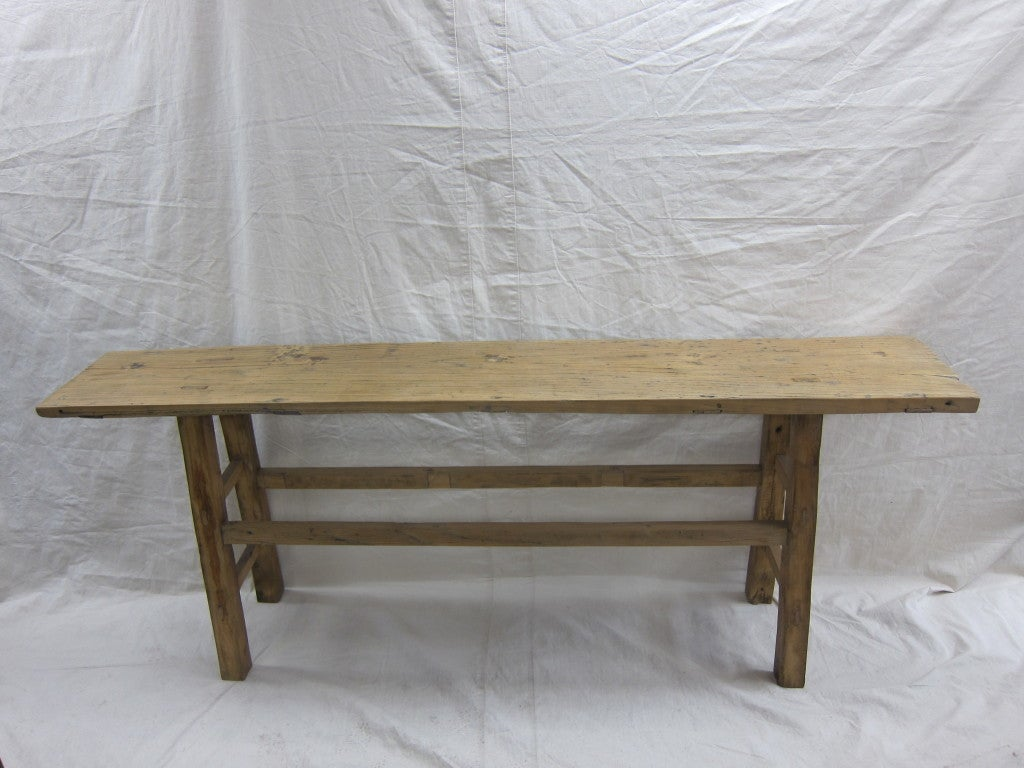 19th century Nam wood Provincial console table, Natural console table in very good condition.  Nice rustic console with natural patina.  Solid, strong & sturdy for any use.