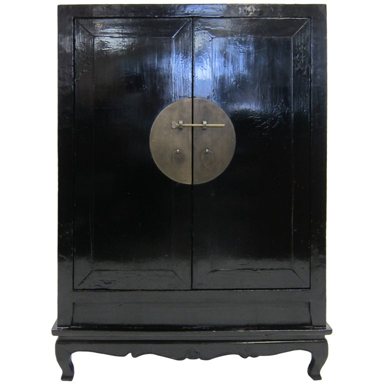 19th Century Chinese Black Lacquer Cabinet 1