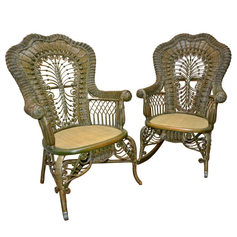 Ornate Victorian Antique Wicker Chair and Rocker For Sale - Ornate Victorian Antique Wicker Chair And Rocker For Sale At 1stdibs