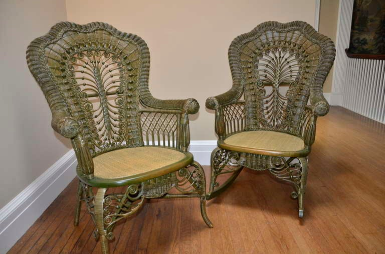 Ornate Victorian Antique Wicker Chair And Rocker For Sale