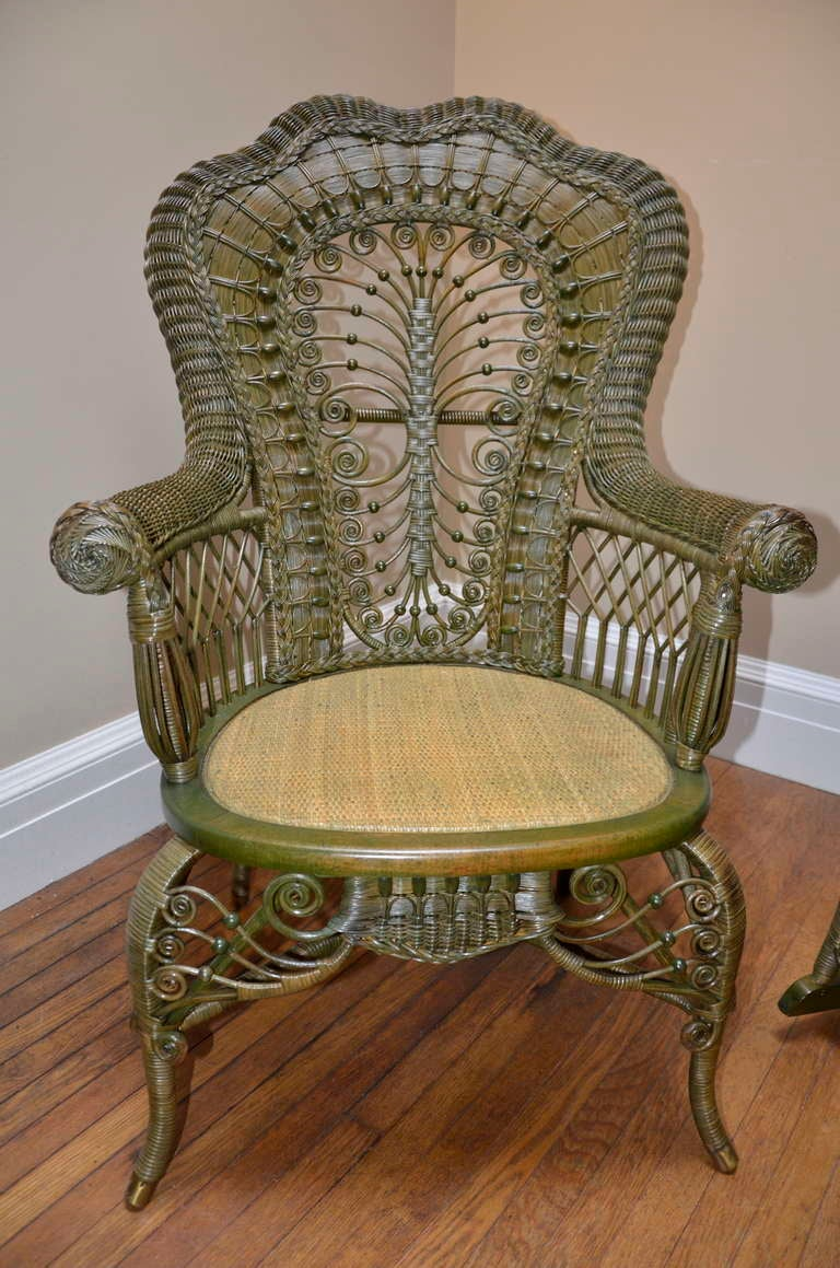 Ornate Victorian Antique Wicker Chair and Rocker For Sale at 1stdibs