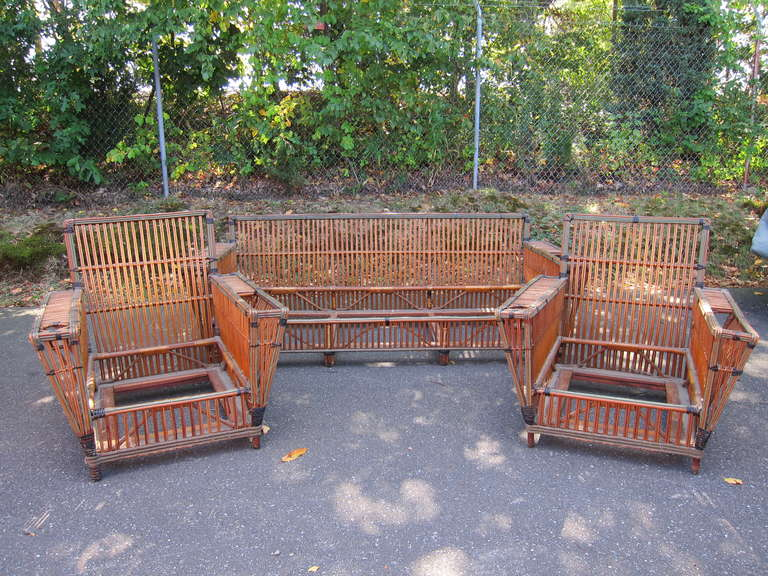 Antique Stick Wicker Set in original natural finish. Pieces are large in  scale and accommodate - Antique Rattan Set At 1stdibs