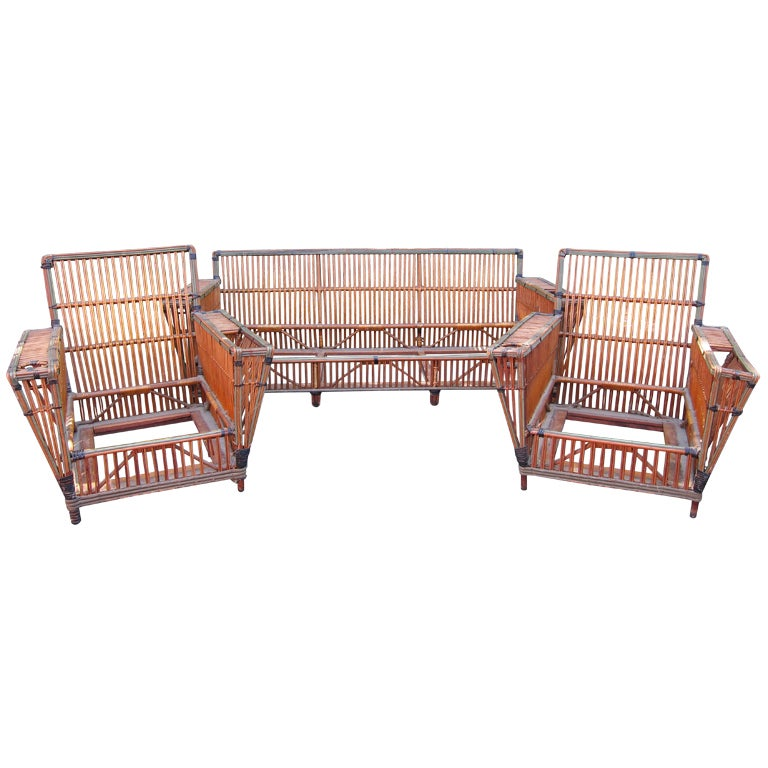 Antique Rattan Set At 1stdibs