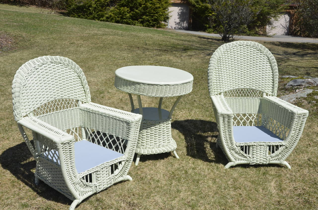 High Style Antique Wicker Parlor Set For Sale 1