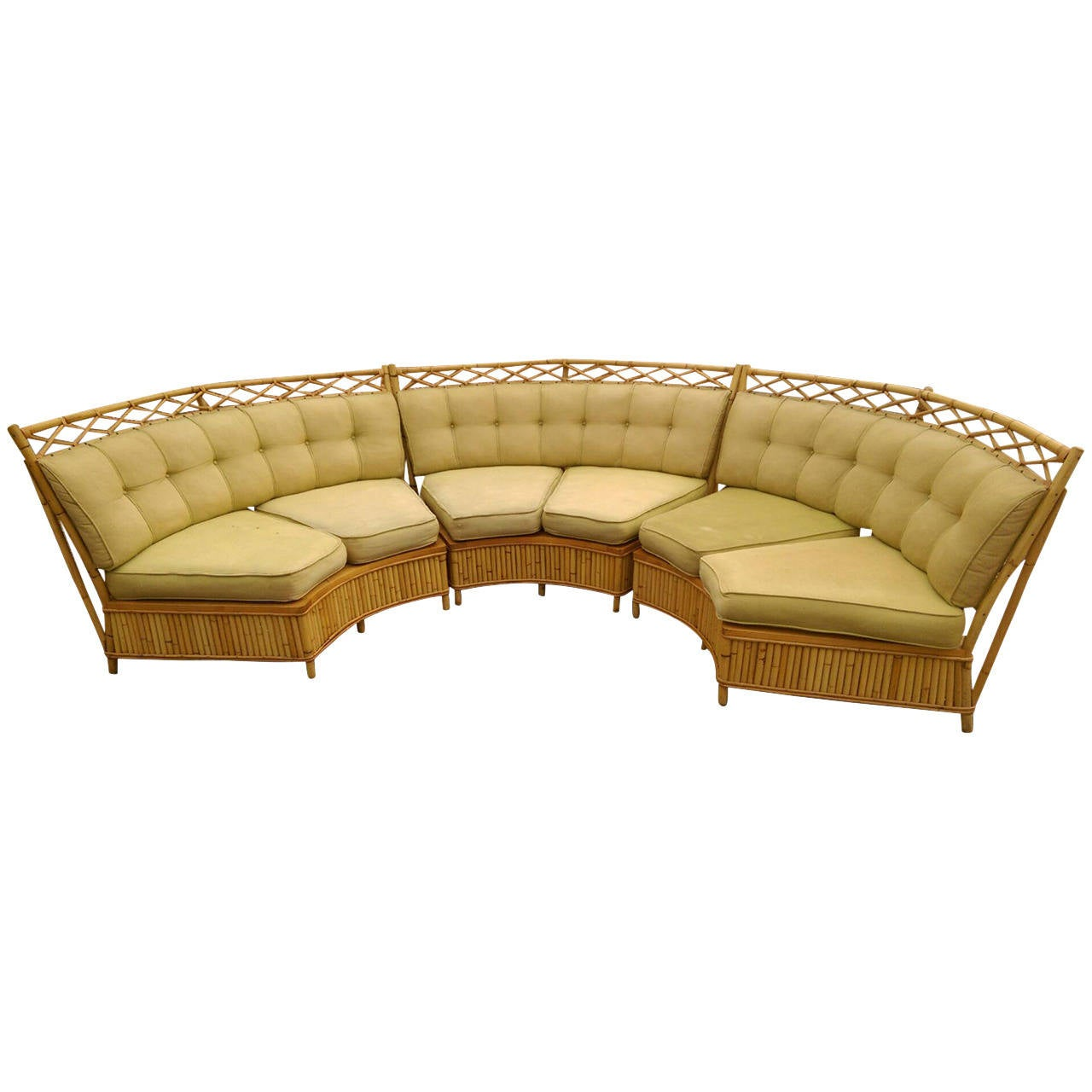 Beautiful Ficks Reed Midcentury Rattan Sectional Sofa at