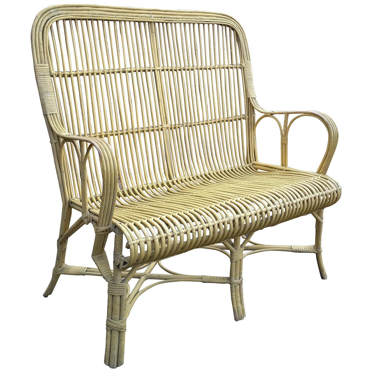 Rare Antique Wicker Wing Back Settee For Sale At 1stdibs