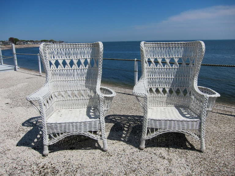 Antique Wicker Bar Harbor Wing Back Chairs at 1stdibs