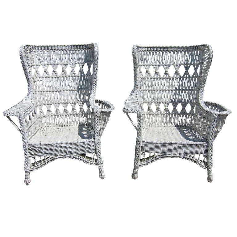 Antique Wicker Bar Harbor Wingback Chairs For Sale - Antique Wicker Bar Harbor Wingback Chairs For Sale At 1stdibs