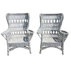 Antique Wicker Bar Harbor Wingback Chairs