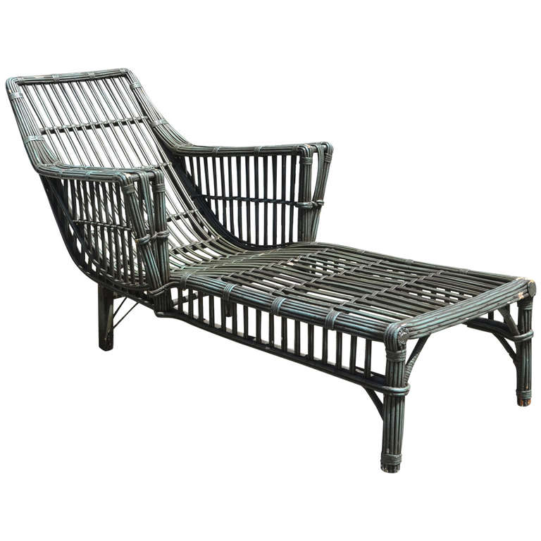 Stick wicker chaise for sale at 1stdibs for Antique wicker chaise