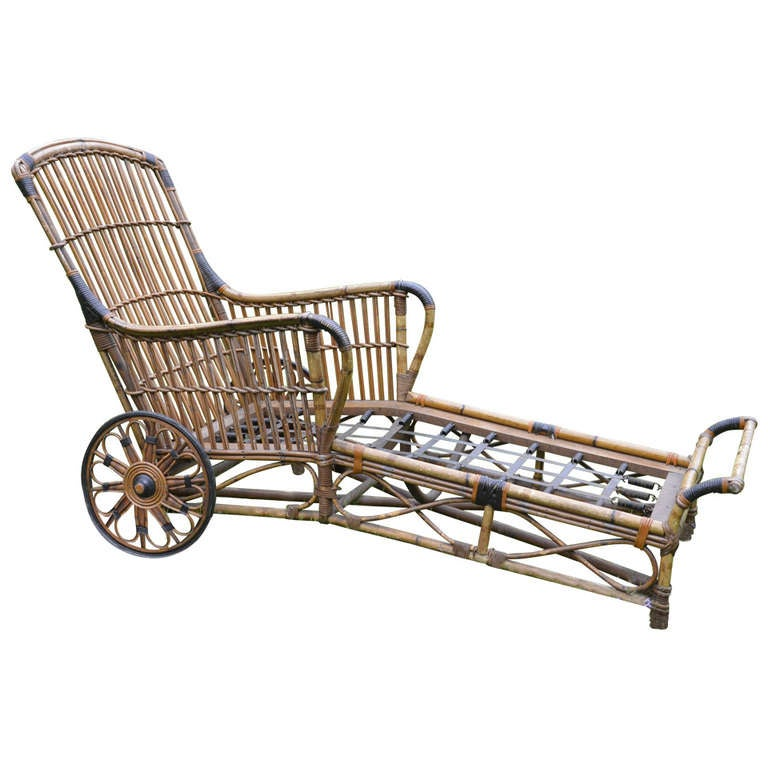 Antique stick wicker rattan chaise at 1stdibs for Antique wicker chaise