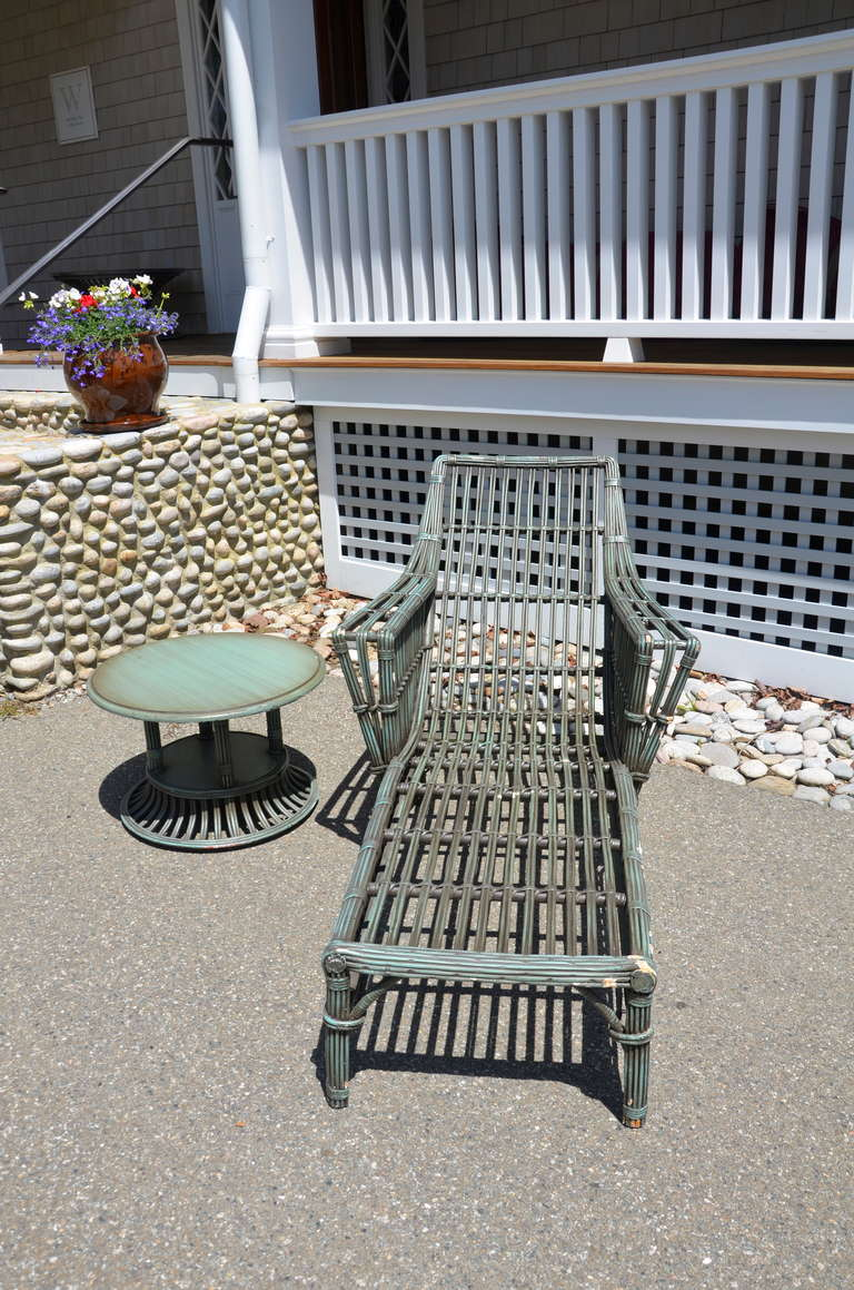 Stick wicker chaise for sale at 1stdibs for Black outdoor wicker chaise