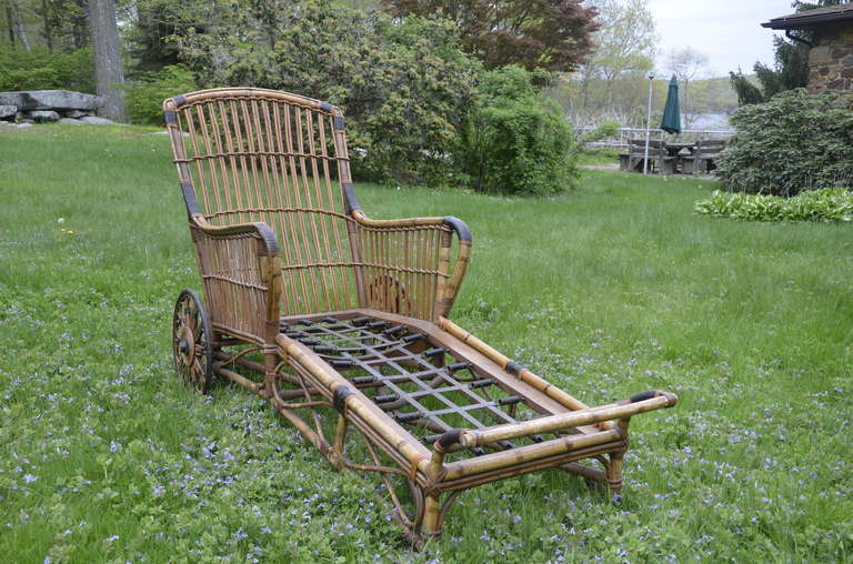 Antique Stick Wicker Rattan Chaise At 1stdibs
