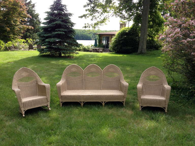 Antique Deco Wicker Set For Sale At 1stdibs
