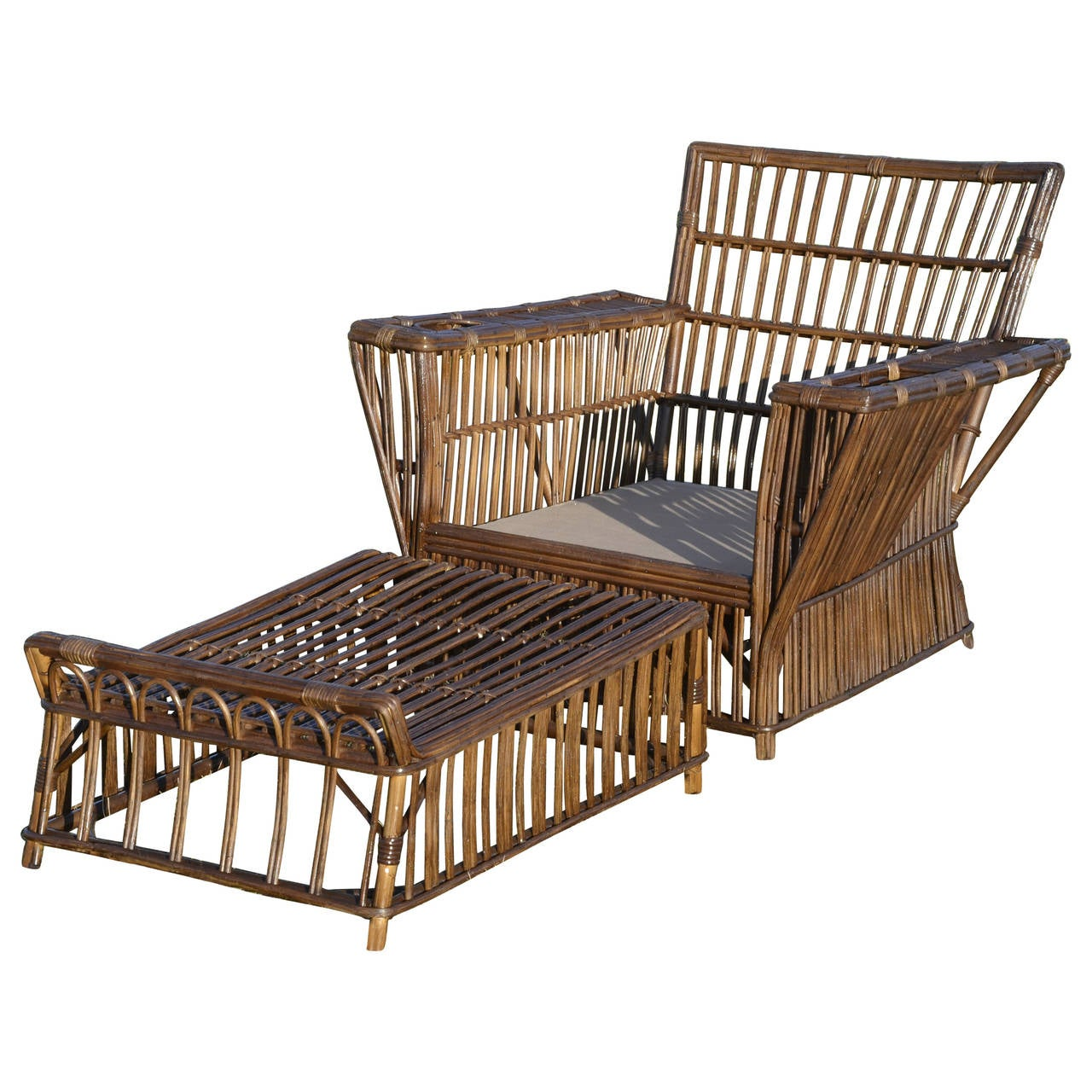 Antique Wicker Lounge Chair and Ottoman at 1stdibs