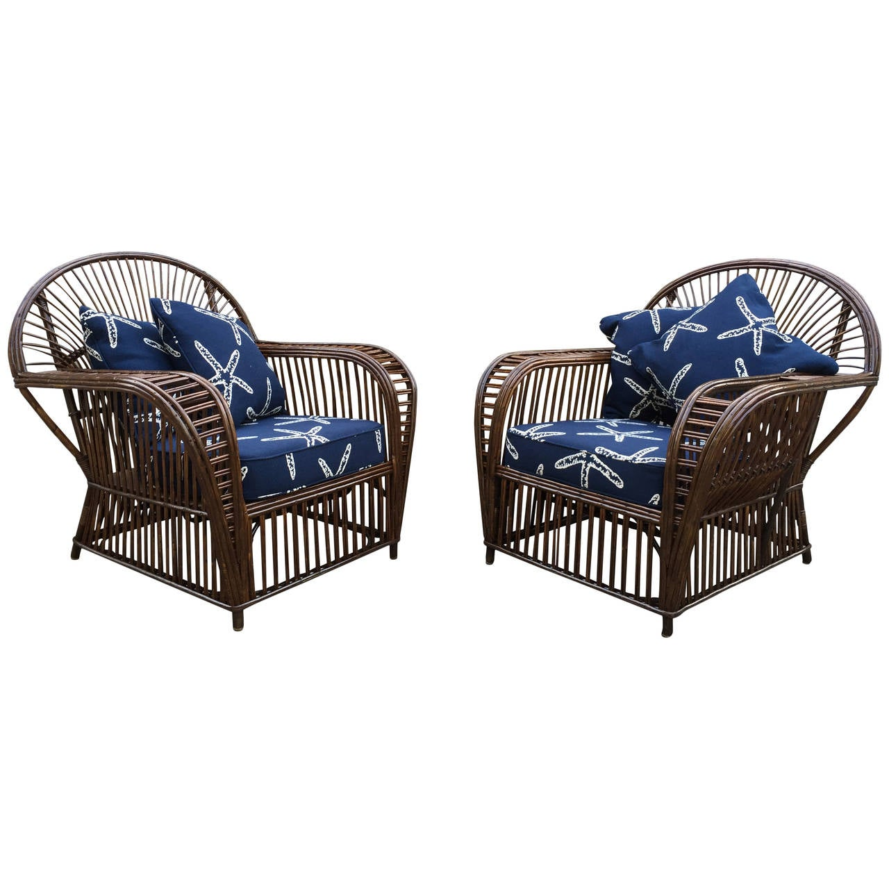 Antique Stick Wicker Lounge Chairs