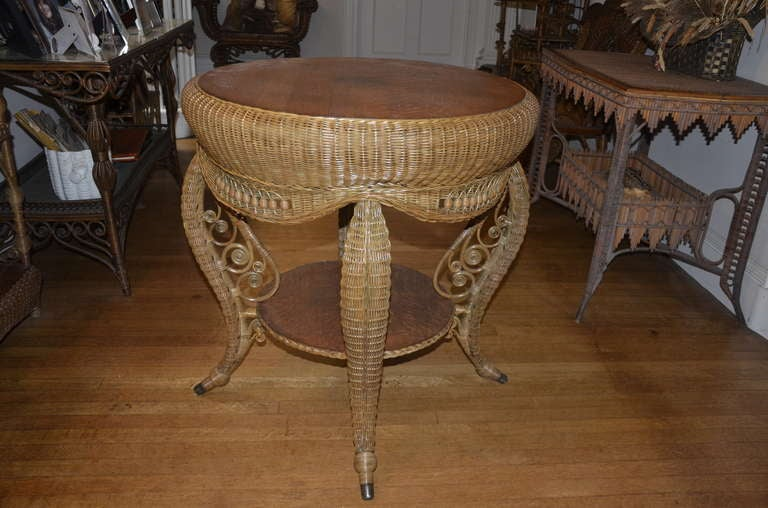 Fancy Antique Wicker Victorian Table For Sale At 1stdibs