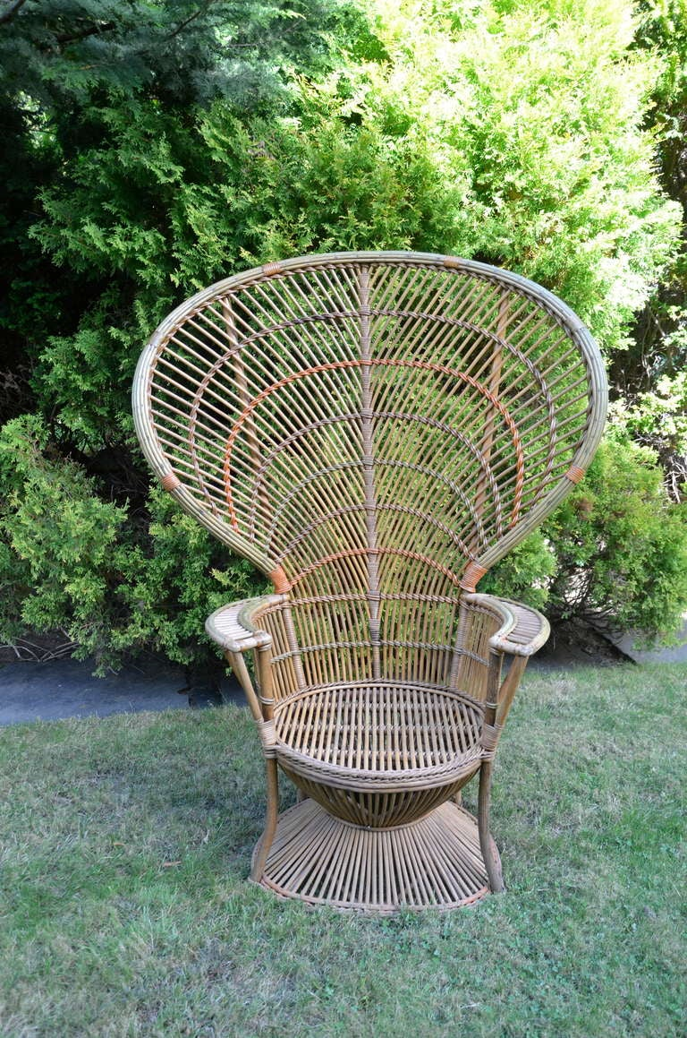 American Four Antique Deco Rattan Chairs For Sale