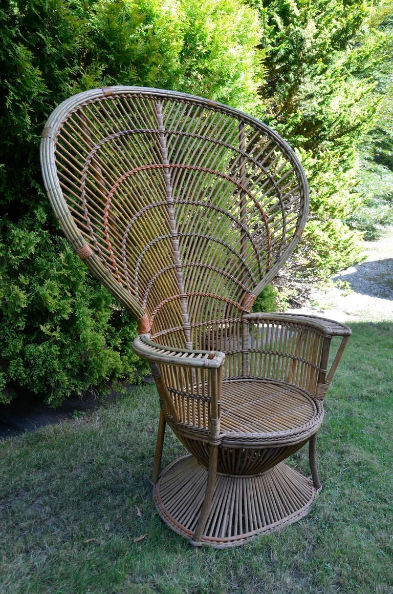 Four Antique Deco Rattan/Wicker Chairs In Original Finish And In