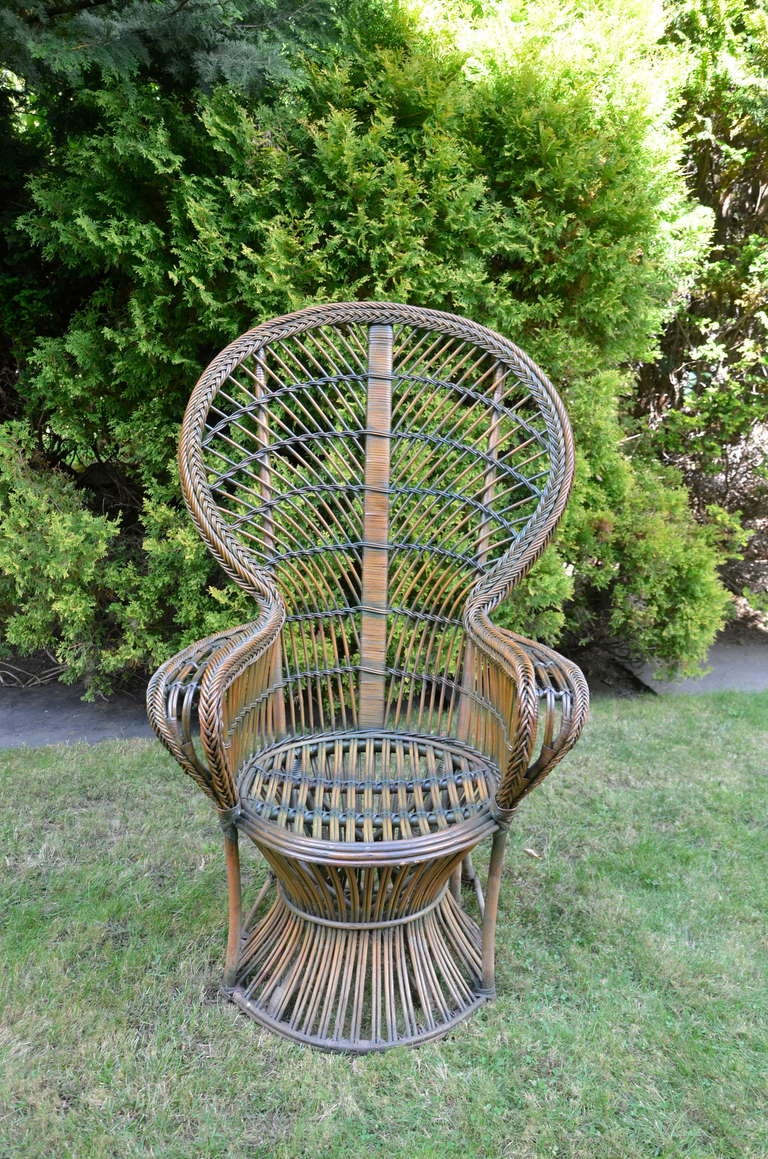 20th Century Four Antique Deco Rattan Chairs For Sale