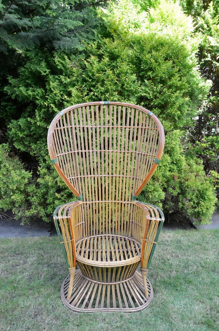 Four Antique Deco Rattan Chairs For Sale 1