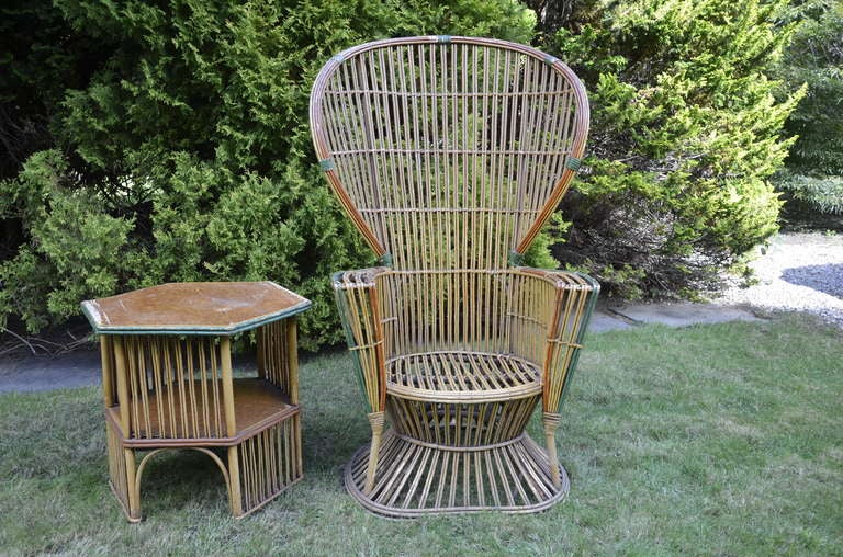 Four Antique Deco Rattan Chairs For Sale 2