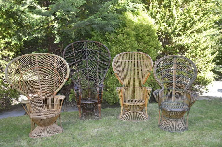 Four Antique Deco Rattan Chairs For Sale 3