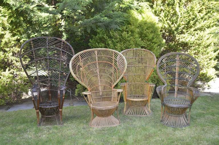 Four Antique Deco Rattan Chairs 3