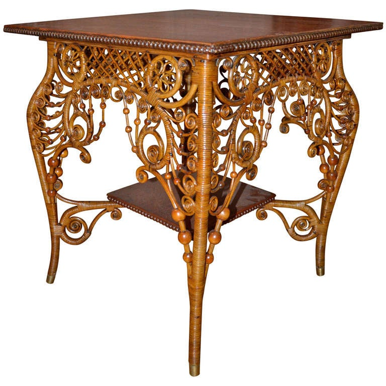 ornate victorian antique wicker table for sale at 1stdibs