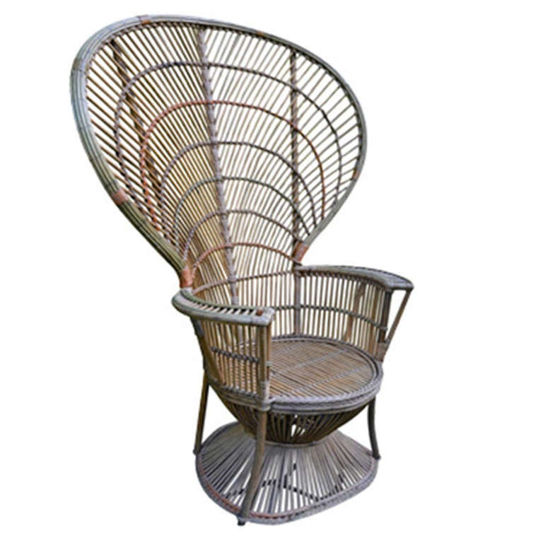 Four Antique Deco Rattan Chairs For Sale
