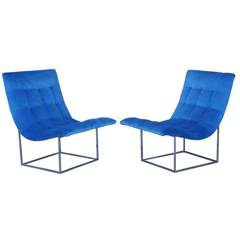 Pair of Milo Baughman Scoop Lounge Chairs
