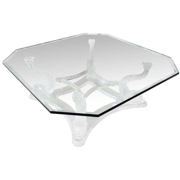Stunning Lucite Coffee Table With Dolphins At 1stdibs
