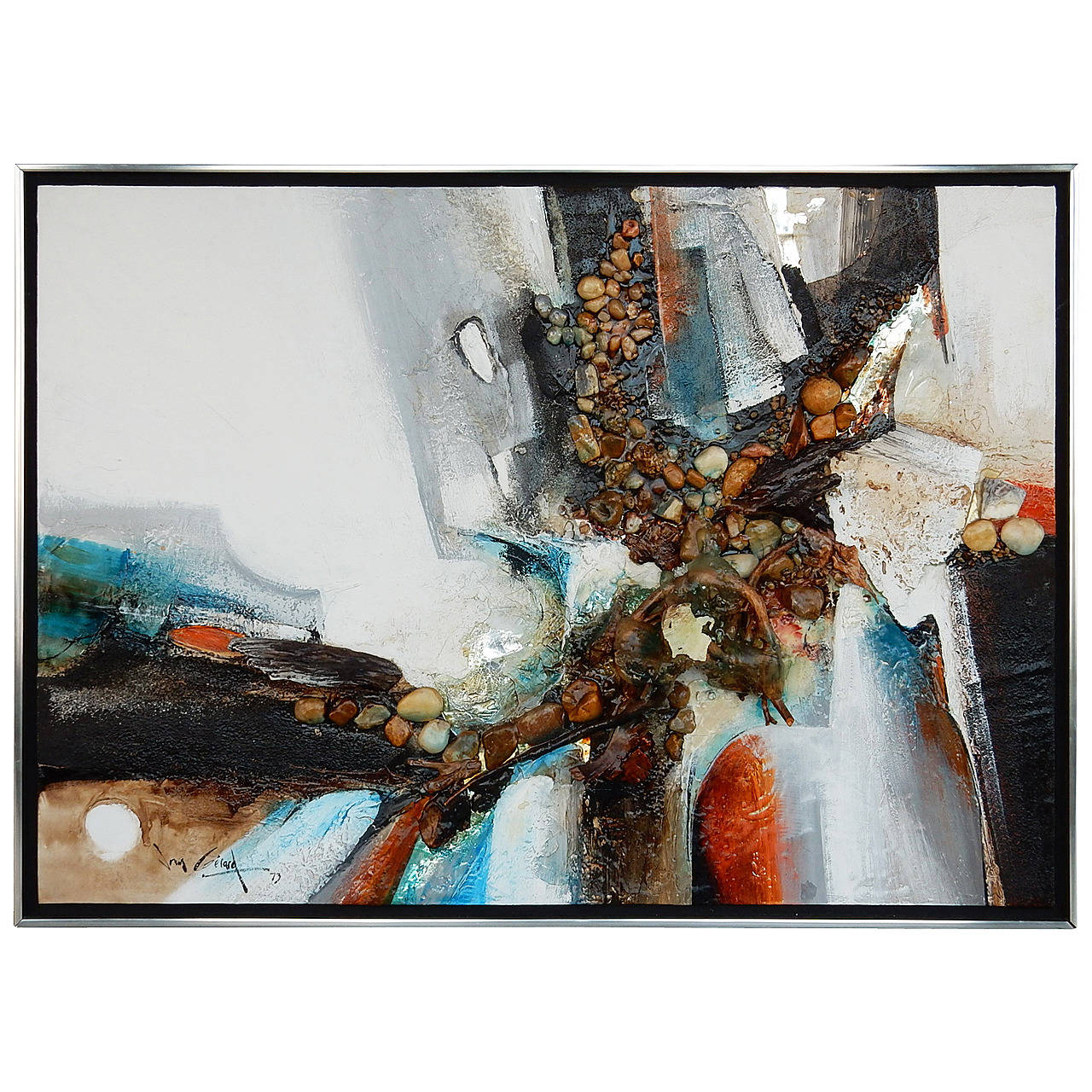 Large Abstract Collage Painting, 1970s