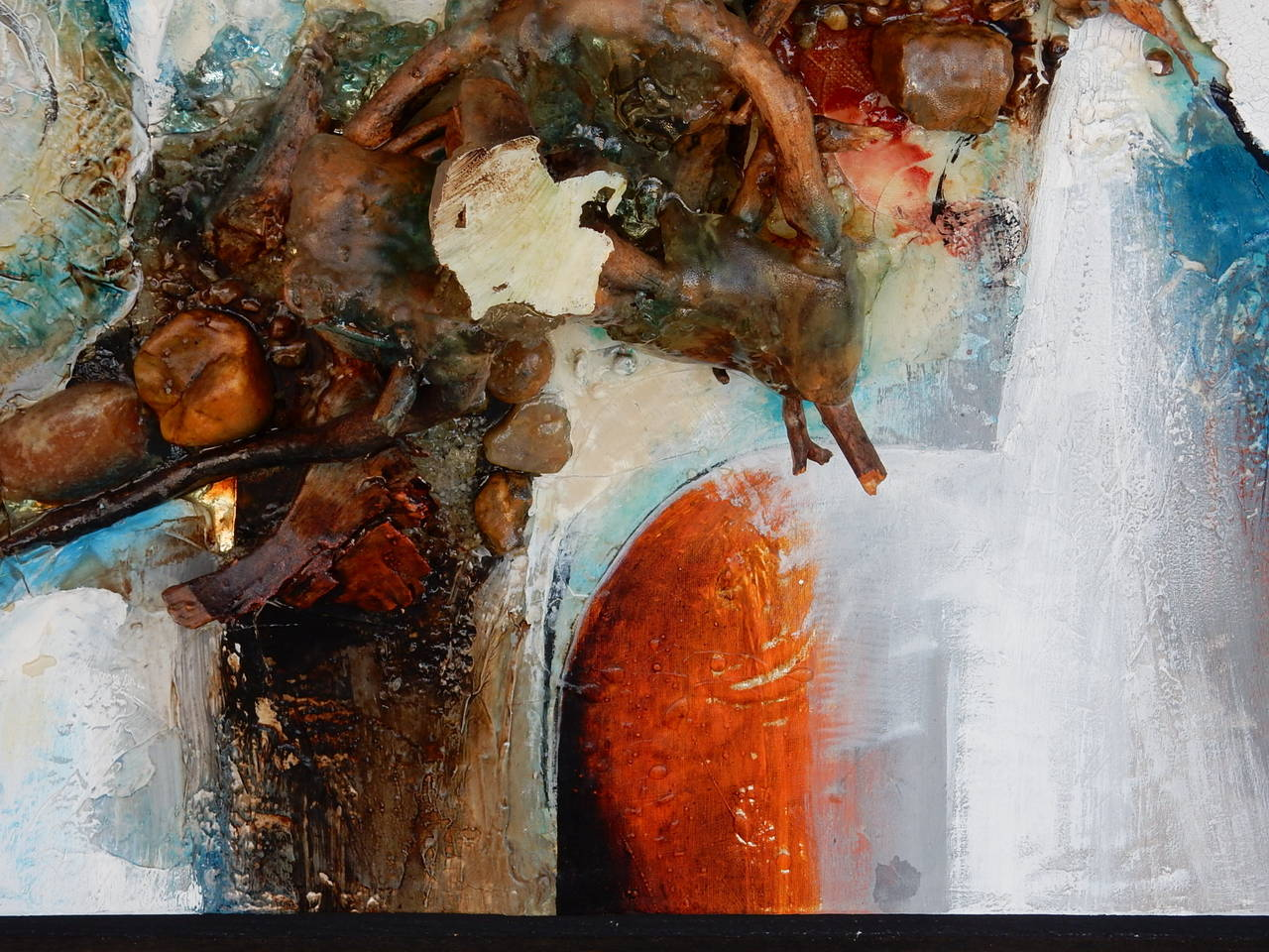 Late 20th Century Large Abstract Collage Painting, 1970s